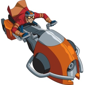 Um dos poderes do garoto Rex é conseguir transformar<br> suas próprias pernas em motocicletas velozes e estilosas